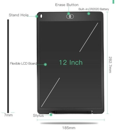 """12/"""" cojín de escritura Electrónico Digital LCD Tablet Dibujar Tabla de Gráficos Para Niños"""