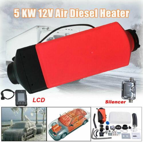 12V 5KW DIESEL Air Heater Calefacción Calentador Con Digital Switch Silenciador
