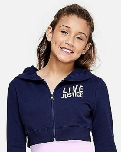 """NWT JUSTICE Girls Size 12 14//16 /""""Live Justice/"""" Navy Crop Hoodie"""
