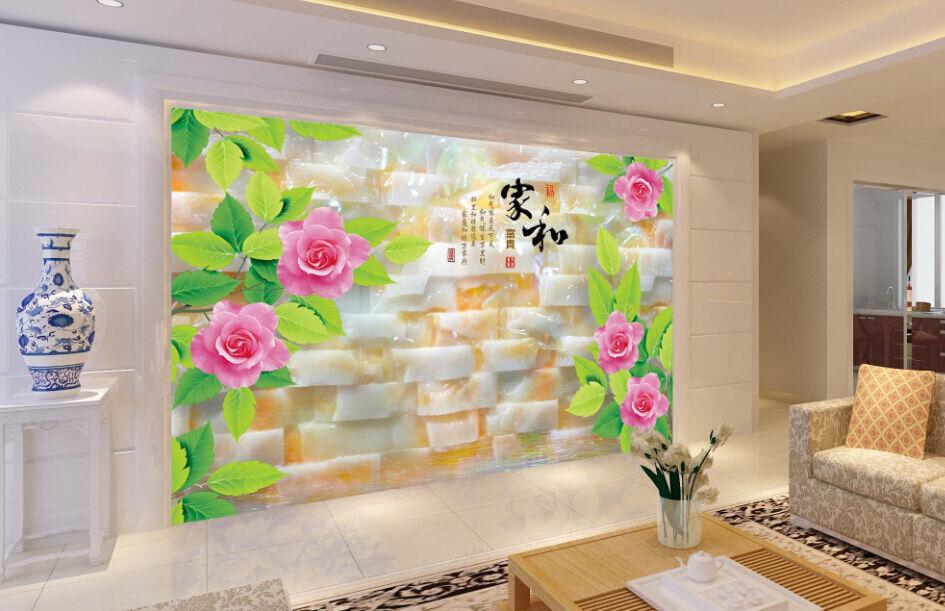 3D Jade, Blumen, Blätter 6 Fototapeten Wandbild Fototapete BildTapete Familie DE