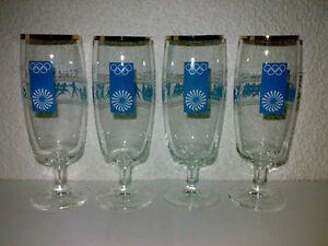 4-Glaeser-Bierglaeser-Tulpen-Olympiade-1972-Muenchen-Munich-Goldrand-KULT-TOP-LOOK