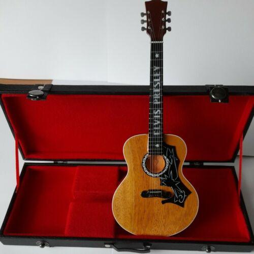 UK SELLER Elvis Presley Miniature Tribute Guitar Hard Wood Mini Case BARGAIN
