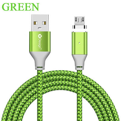 1/ 2 /3M LED Light Magnetic Micro USB Fast Charger Data Sync Charging Cable Cord