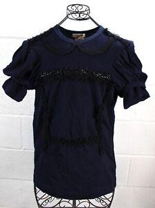 COMMES DES GARCONS Navy Blue Double Puffy Cap Sleeve Ruffle Trim T-Shirt Top S