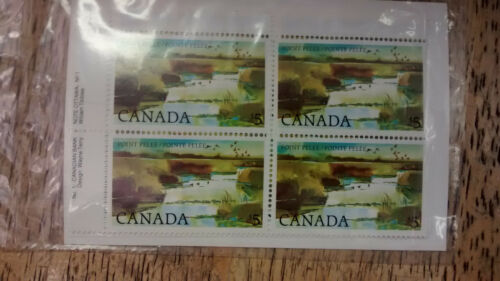 Canada Post Set of 4 Corner Blocks $80 Point Pelee, 5$ Stamps,Scott #937