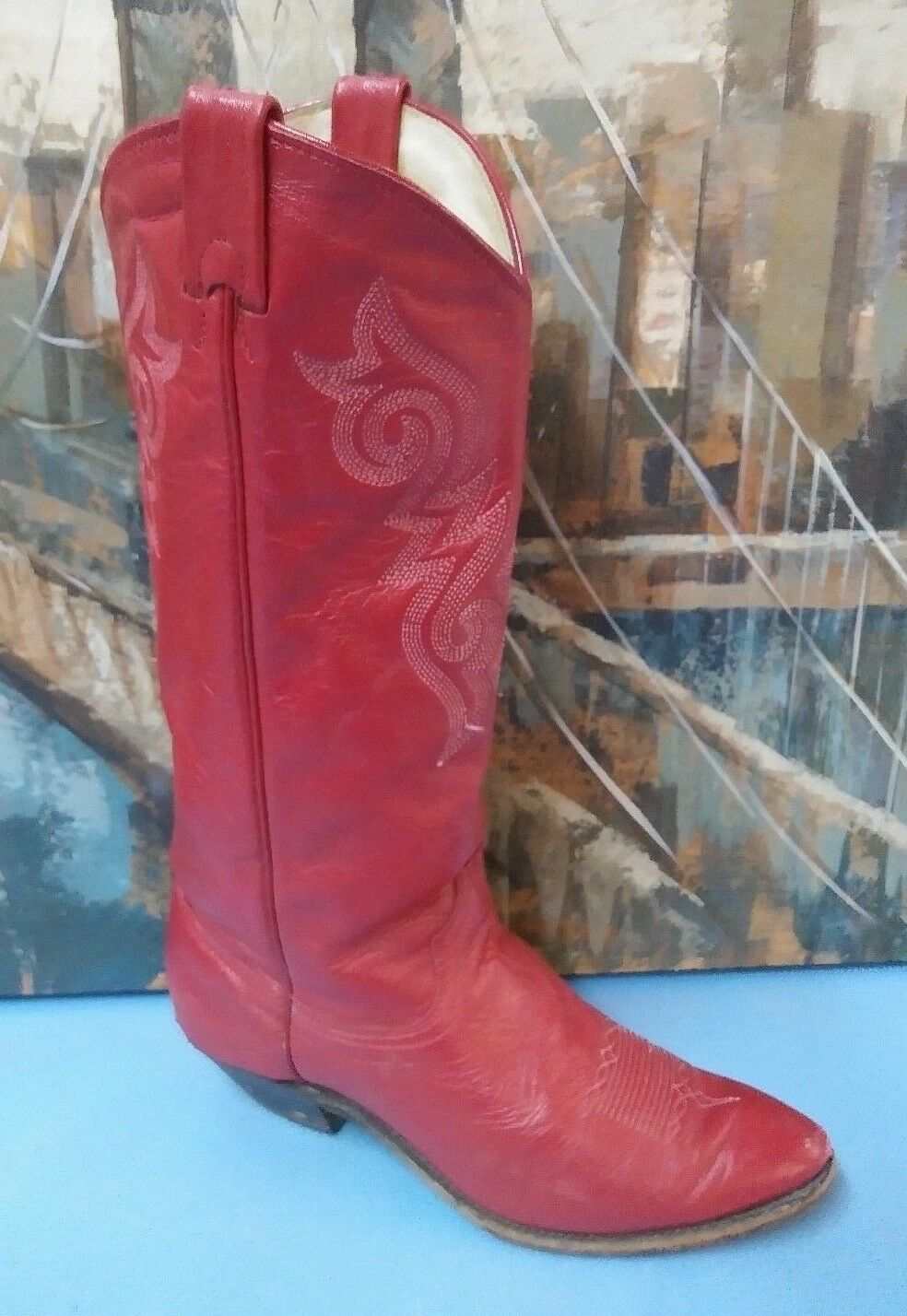 Vtg Womens Coawboy Boots Womens Red Style 9087  Size 7.5 M