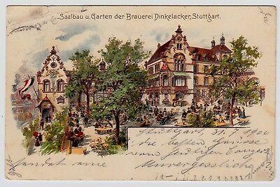 Stuttgart Brauerei Dinkelacker Saalbau & Garten Bier Beer Brewery Ak Um 1900 Elegant Im Stil