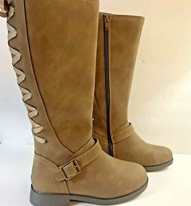 SO-Girls-Boots-Cicely-Size-13M-Laced-Riding-Boots-Taupe-Zip-Memory-Foam-New