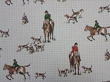 Clarke y Clarke Caballo Y El Sabueso De Los Perros De Diseñador Cortina tapicería Tela Artesanal