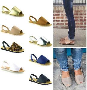 Para-Mujer-Damas-menorquina-ESLINGA-vuelta-Peep-Toe-De-Flip-Flop-Verano-Sandalias-Zapatos-Talla