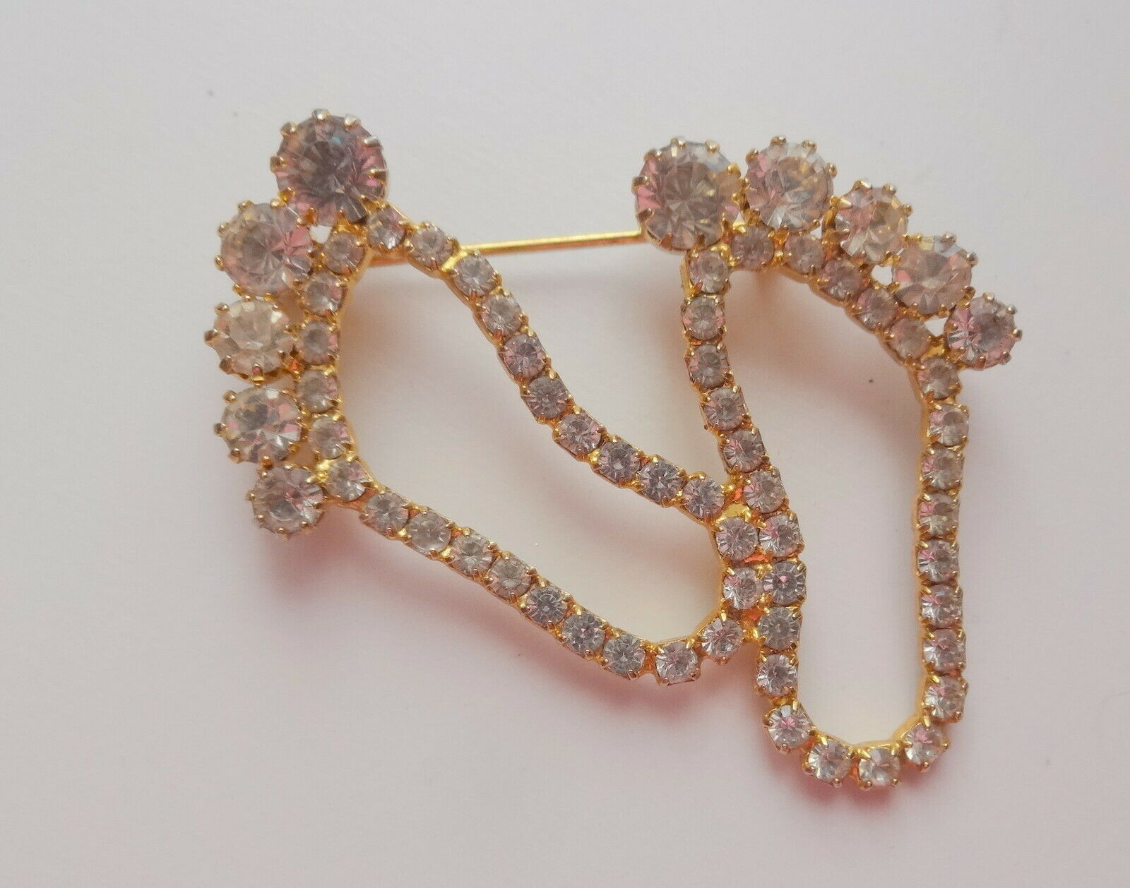 Vtg Barefoot Footprints Rhinestone Unusual  Pin Brooch