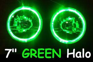 Mazda-RX7-808-929-Austin-Healey-Mini-Moke-MG-GREEN-LED-Halo-7-034-Round-Headlights