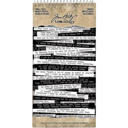 Snarky Word Small Talk 8 Shts Book Black /& White Tim Holtz idea-ology Stickers