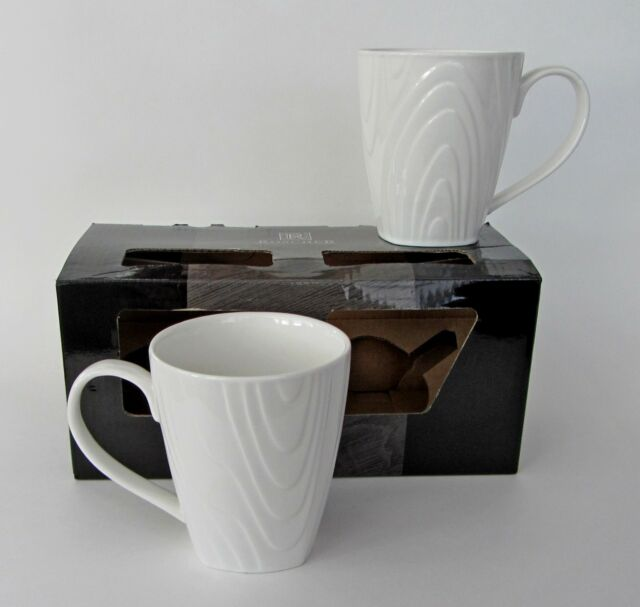 roscher porcelain wood grain design white semi square mugs cups set