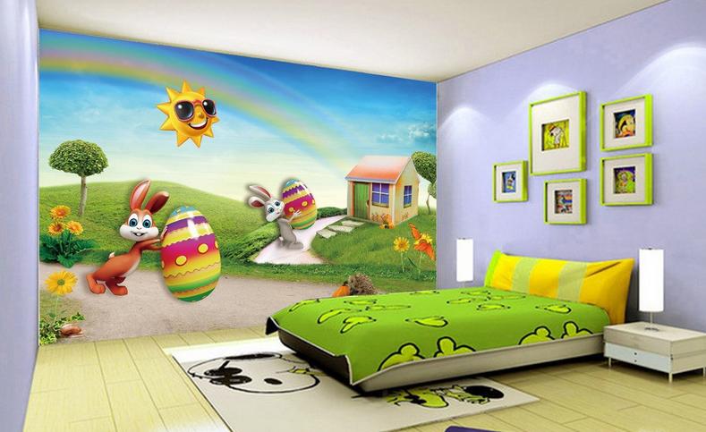 3D Regenbogen-Kaninchen 864 Tapete Wandgemälde Tapete Tapeten Bild Familie DE