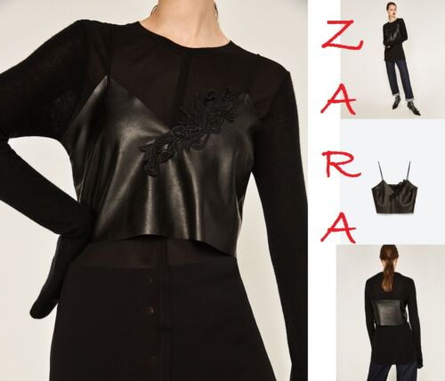 RT$35 S M L ZARA Cropped FAUX Leather Black Top w//Embroidery Straps V-Neck New
