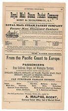 1880s Advertisement for the Royal Mail Packet Company San Francisco