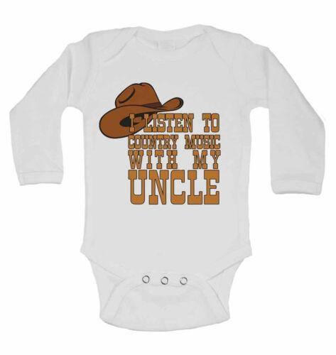 filles Je l/'écoute de la musique country avec mon oncle gilets manches longues bébé pour garçons