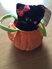 NWT Gymboree Halloween Pumpkin Black Cat Kitty Toy Plush Purse Bag
