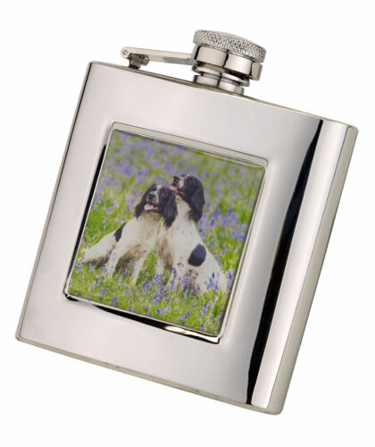 Square Hip Flask 6oz Springer Spaniel design with funnel in Presentation Box