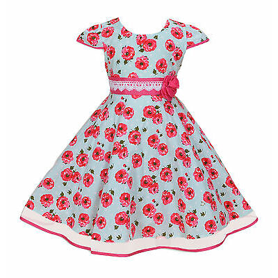 New Girls Rose Party Dress in Blue Pink 4 5 6 7 8 Years