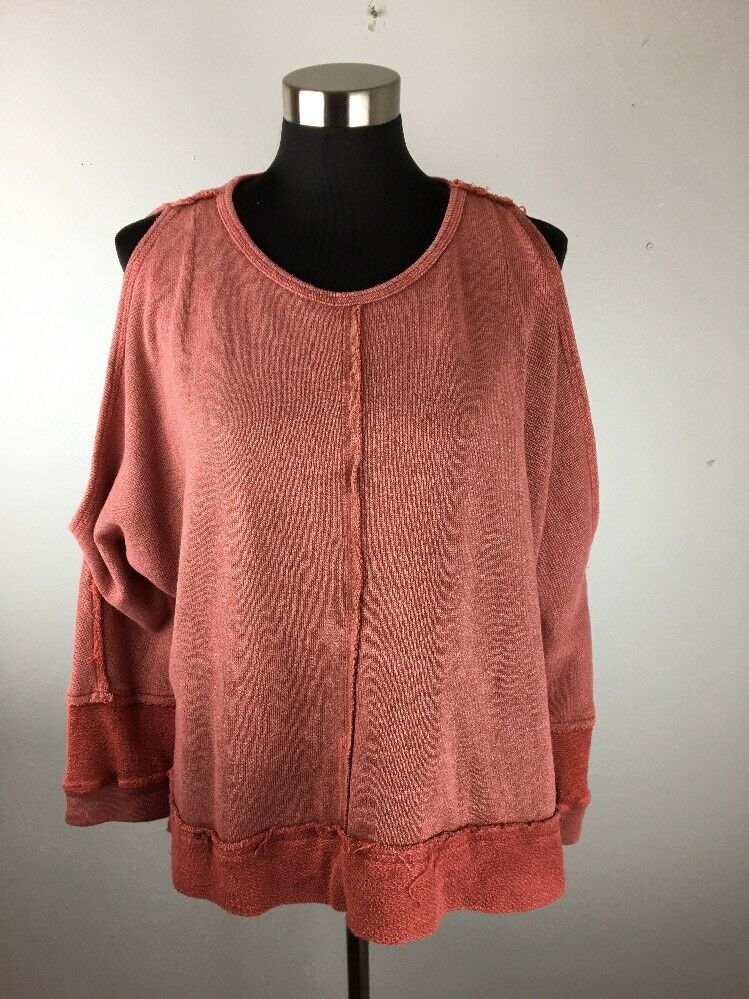 Anama Womens Sweater M Medium Washed Distressed Mauve Long Sleeve Cold Shoulder