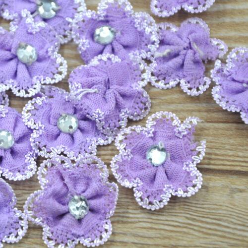 40 cinta flor con apliques de diamantes de imitación costura Artesanía Decoración de Boda A144