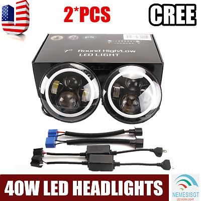 """2x 7"""" Inch Round 40W LED Halo Angel Eyes Headlight Fit Jeep Wrangler TJ/LJ/CJ/JK"""