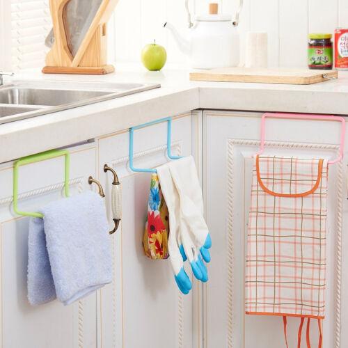1 pc Door Towel Holder Rack Rail Cupboard Hanger Kitchen Hook Bathroom 4 Colours