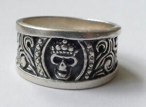 Herrenring-Bandring-geschwaerztes-Dekor-925-Silber-Vintage-70er-ring-silver
