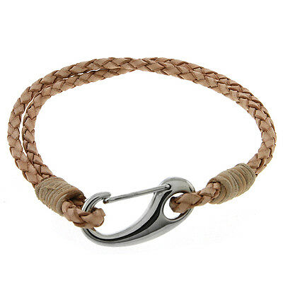 "Men's 7.5"" Beige Leather Bracelet With Stainless Steel Clasp"