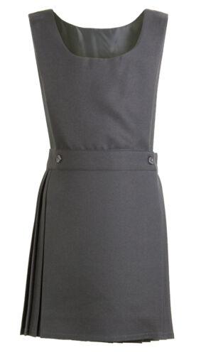 Pleated Pinafore Dress School Uniform Girls Kids Black Grey Navy Green Wrapover