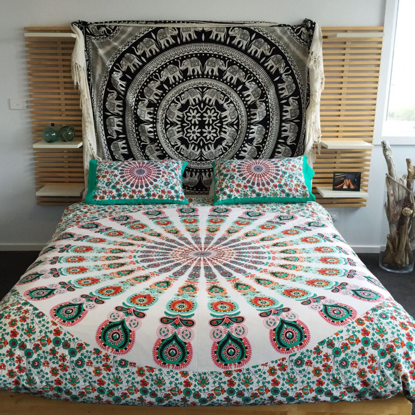 Indian Mandala Tapestry Duvet Cover Hippie Blanket Queen Throw Doona Quilt Cover