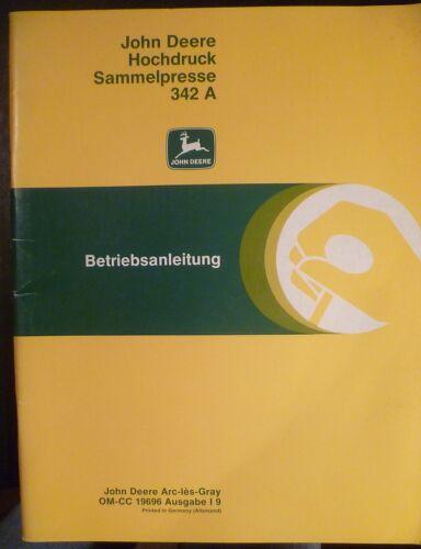 John Deere Hochdruck Sammelpresse 342 A Anleitung