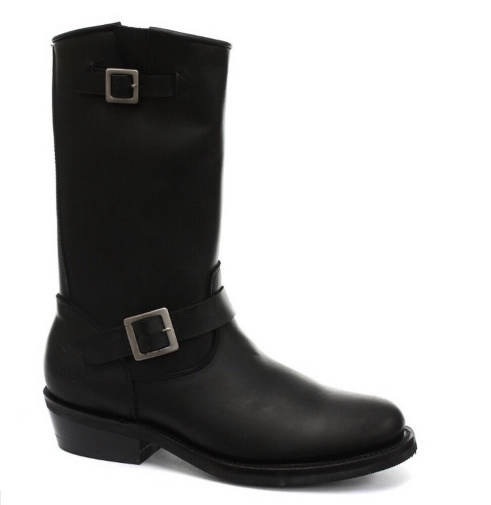 Grinders New Rebel Black Unisex Smooth Sole Leather Western Bikers High Boots