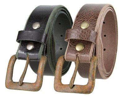"Copper Cross Buckle Genuine Full Grain Leather Vintage Belt 1-1//2/"" Wide Tan"