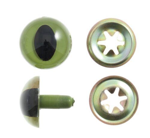 12 mm solido Gatti Occhi Con Rondelle Per Giocattoli e Artigianato Confezione Qtà 6