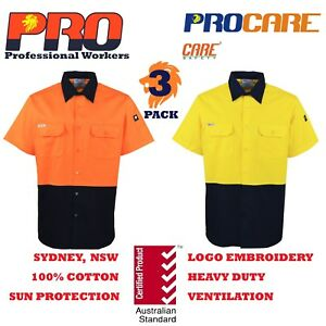 3-pack-Hi-Vis-Work-Shirt-vented-cotton-drill-cutted-short-sleeve-Safety-uniforms