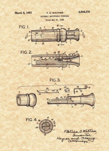 1951 WALTHER Slidably Adjustable Birdcall Ready To Be Framed! Patent Print