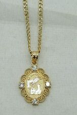 """14K Yellow and White  Gold Baptism cuban Chain and Charm Combination 16"""" Long"""