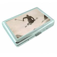 Vintage Skiing D43 Silver Metal Cigarette Case RFID Protection Wallet Winter Ski