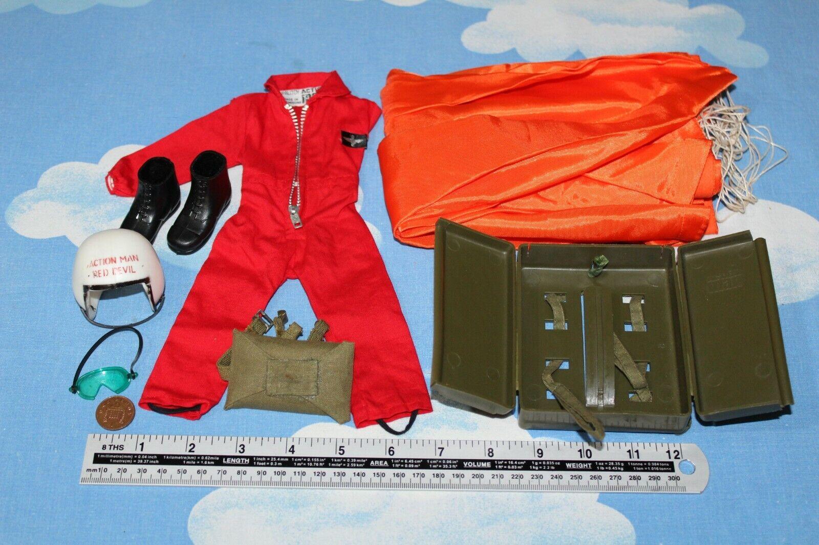ORIGINALE VINTAGE azione uomo rosso DEVIL Paracadute Salopette & Equipessit CB33669