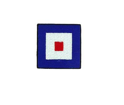 Flag patch embroidered international maritime nautical navy signal W Whiskey