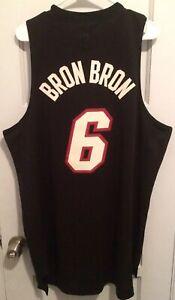 best cheap 62806 219dc Details about LeBron James Miami Heat NBA Jersey Men L Black Nickname Bron  King #6 Adidas MVP