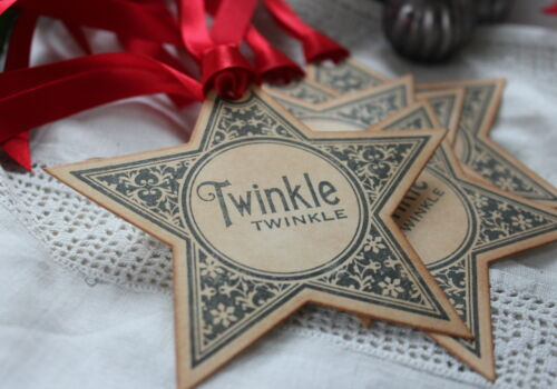 TWINKLE TWINKLE-Christmas Gift Tags-Vintage Style-Star-Handmade for You-Set of 5