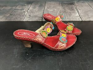 Spring-Step-Heel-Sandals-Womens-Size-40-Red-Leather-Flowers-Slides-Comfort-Shoes