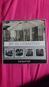New-Kitchen-Craft-Deluxe-Cork-Backed-Coasters-Assorted-Designs-Pk4