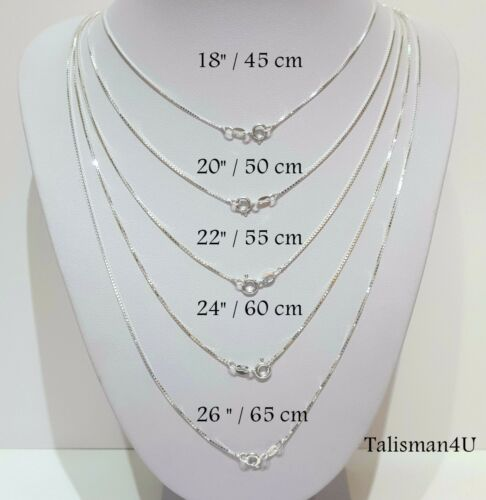"""22/"""" BOX CHAIN Necklace 1.2 mm Italy 18/"""" 24/"""" 20/"""" 26/"""" REAL 925 Sterling Silver"""