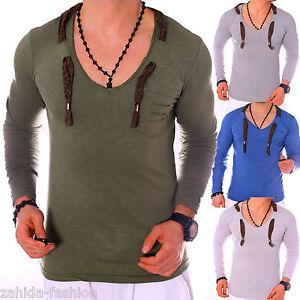 Zahida-hommes-sweatshirt-Chemise-manches-longues-Clubwear-t-shirt-v-neck-us