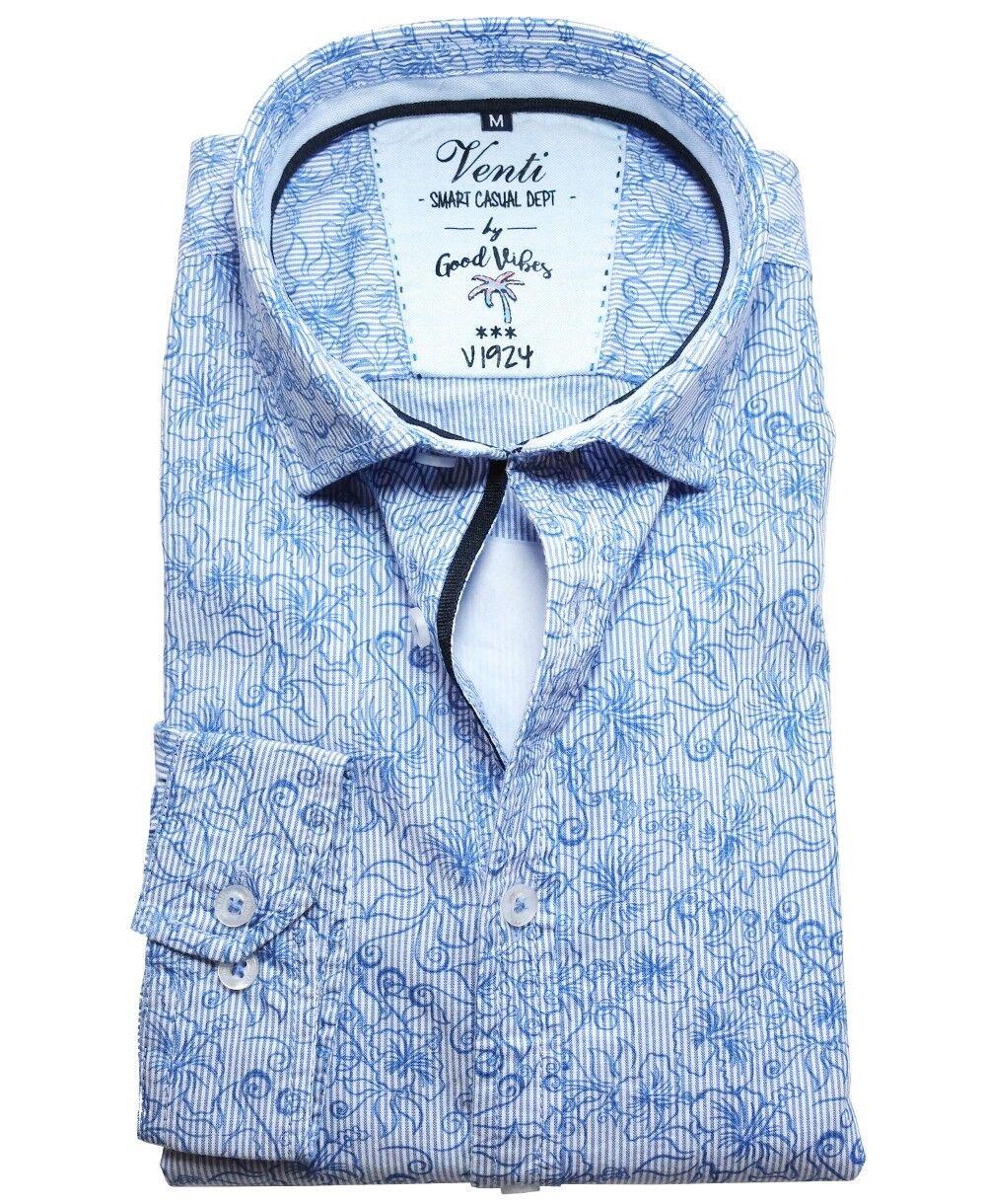 Venti Slim Fit Smart Casual Langarmhemd in white hellblue Streifen Floraldessin